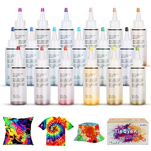 Ucradle Tie Dye Kit, 18 Stück*120ML DIY Textilfarbe, ungiftig, Vibrant Krawattenfärbe-Set, mit 40 Stück Gummi Band und 1Vinyl Tischdecke