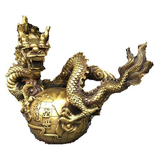 Liangliang988 Ornamenti in Rame Puro a Forma di Drago Zodiacale in Rame con Apertura longxiang Longshengshi Città casa Portafortuna aiutante Feng Shui Ornamenti