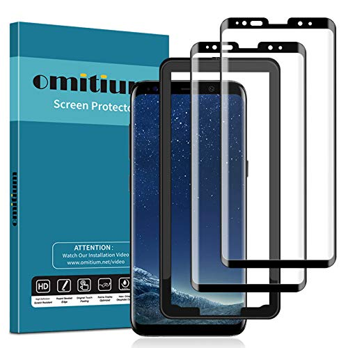 omitium Protector Pantalla para Samsung Galaxy S8, [2 Pack] 3D Curvado Cobertura Máxima Samsung Galaxy S8 Cristal Templado [Marco Instalación Fácil] Dureza 9H Vidrio Templado Samsung Galaxy S8