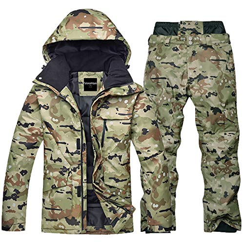 VEROMAN Snowboard Ski Jacket and Pants Camouflage for Men High Waterproof Windproof Breathable (L)