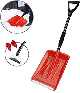 Eventronic Snow Shovel, Detachable Snow Shovel with Durable Aluminum Edge Blade, D-Grip Handle, Portable for Emergency, Car, Camping, Home (Red, with a Gift Snow Scraper)
