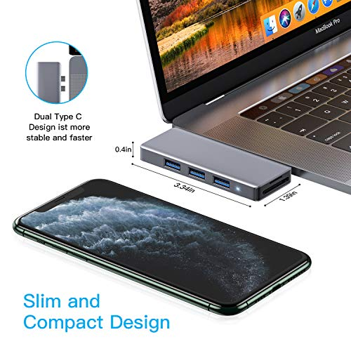 HOTUCG USB C Hub, 6 IN 1 USB C Adapter mit Thunderbolt 3 Ladeanschluss, 3 USB 3.0 Ports, SD/Micro SD Kartenleser, USB-C Adapter Hub für MacBook Pro 2020/2019/2018/2017/2016, MacBook Air 2020/2019/2018