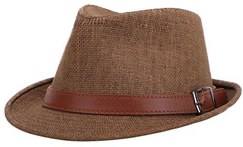 Jasmine Men Short Brim Miami Beach Panama Fedora Straw Hat,Dk Brown,LXL