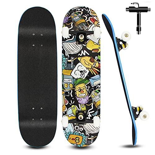 Skateboard Komplett 79x20cm für Kinder Erwachsene Jugendliche, 7-lagigem Cruiser Skateboards Komplettboard mit Double Kick Deck Concave und All-in-one Skate T-Tool für Anfänger, Schwarz2