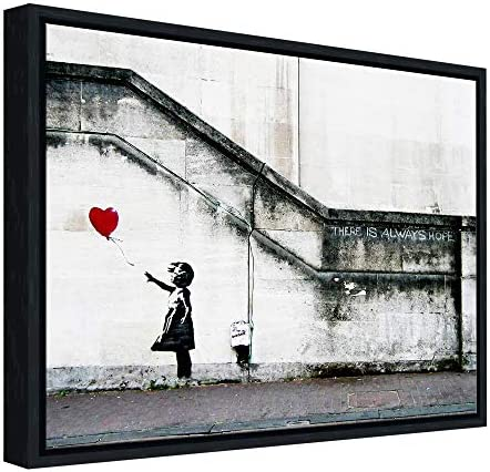 Wieco Art Framed Canvas Wall Art Giclee Canvas Prints of Banksy Grafitti Girl with Red Balloon product image