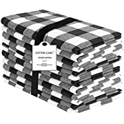 Cotton Clinic 20x20 Gingham Buffalo Check Cloth Dinner Napkins Pack of 12, 100% Cotton Cocktail Napkins, Wedding Dinner Napkins with Mitered Corners and Generous Hem - Black White