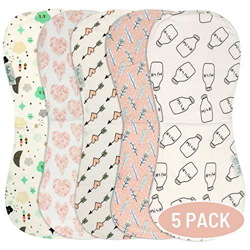 Organic Burp Cloths for Baby Girls - 5-Pack Ultra Absorbent Burping Cloth, Burp Clothes, Newborn Towel - Milk Spit Up Rags - Burpy Bib for Unisex, Boy, Girl - Burp Cloths Set