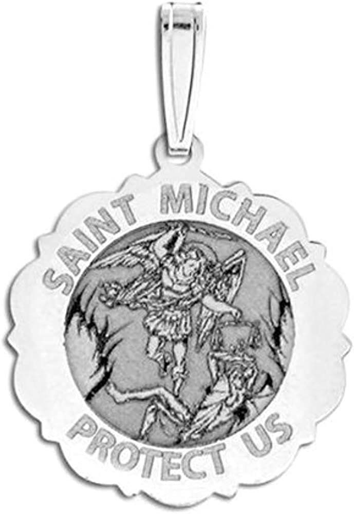 PicturesOnGold.com Saint Michael Scalloped Religious Round Spring new Popular work Medal