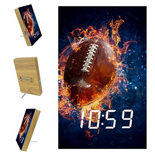 Desheze LED Wecker Rugby-Feuer Elektronischer Digitaler Wecker Bett Automatische Sprachsteuerung Batterie Und USB-Aufladung 10x16x2.4cm