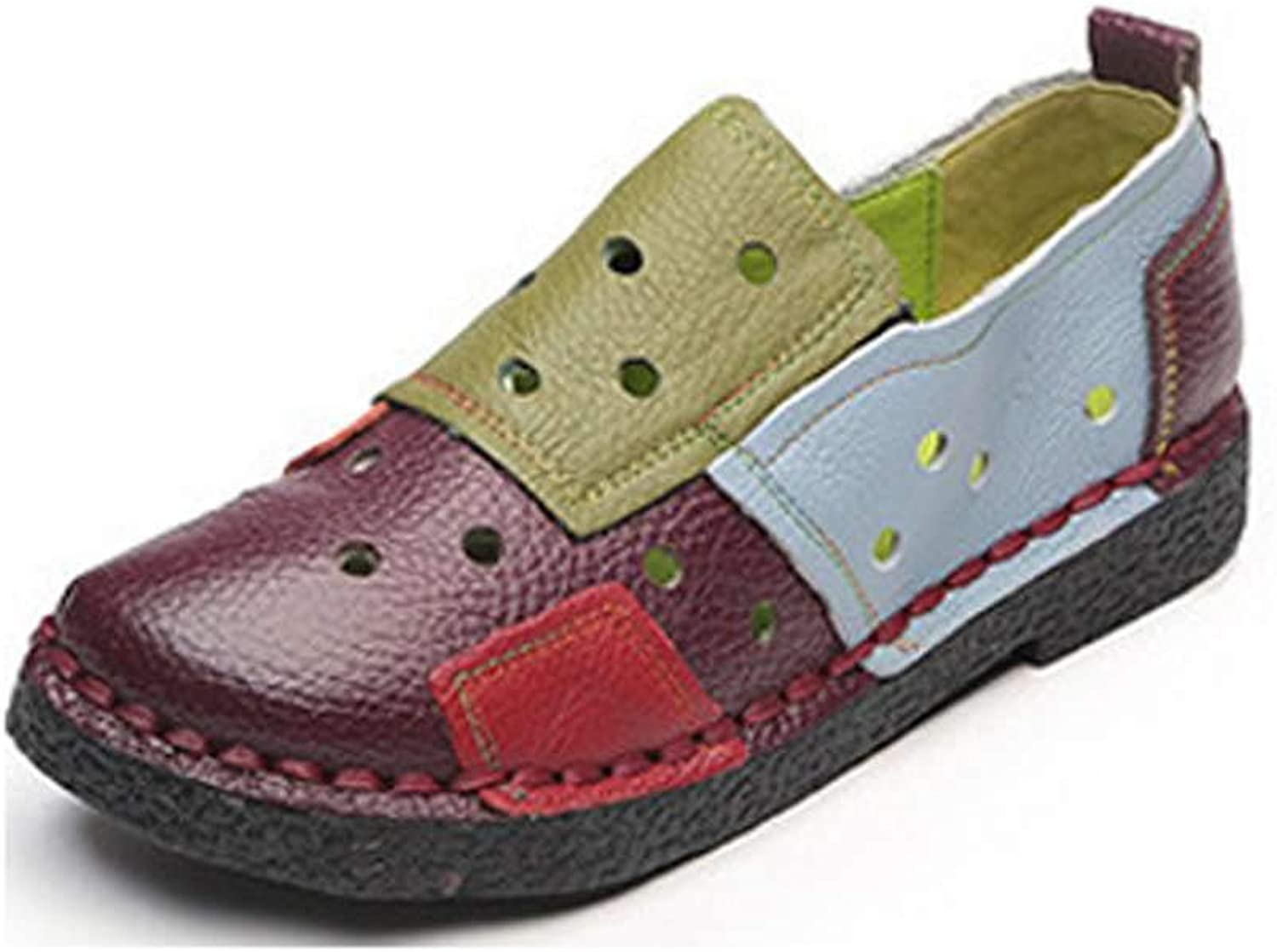 Luobote Women Loafers Leather Flats Fashion Slip On Casual Walking shoes colorful