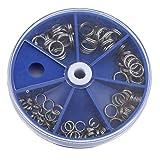 YSINFOD 116 Stücke Metallspaltringe Set Angelköder Doppel Ring Stecker Angeln Sprengring Mit Aufbewahrungsbox