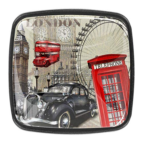 Tiradores de cajones de cristal de 30 mm, 4 unidades, tiradores de cajones para el hogar, cocina, armario, Londres vintage