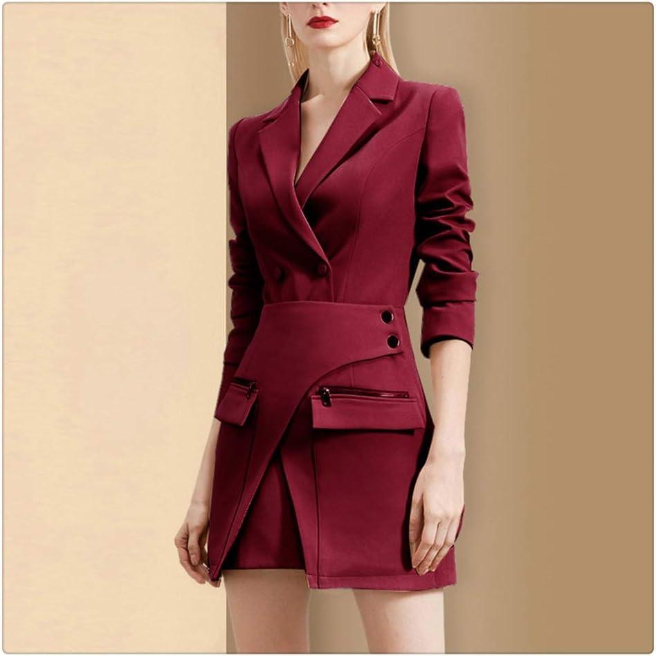 ZTTZX Office Lady Elegant Suit Women Notched Long Sleeve Slim Blazer + Zipper Pocket Tied Waist Skirt Set New Spring (Color : Wine Red, Size : Medium)