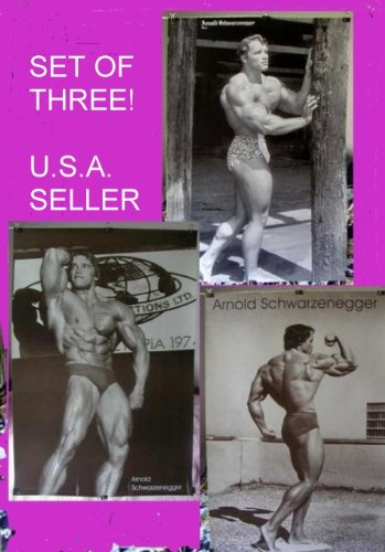 Arnold Schwarzenegger 1970s Bodybuilding Poster Print Black & White SET of 3 21 X 31 Inches Each (sent FROM USA in PVC pipe)