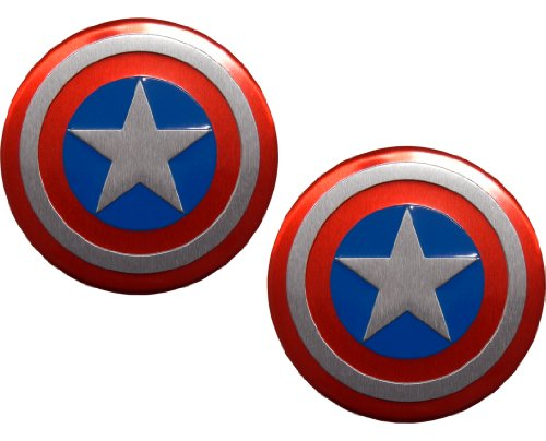 2 X Captain America Marvel Comics Superhero Shield Emblems Real Aluminum Car Laptop Logo Badge Emblems (Pair/Set)