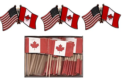 Pack of 3 Canada & US Crossed Double Flag Lapel Pins, Canadian & American Friendship Pin Badge Plus Free Box of Canada Small Mini Cupcake Toothpick Flags
