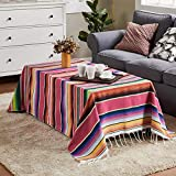 Mexican Blanket Large Square Cotton Mexican Serape Blanket with Assorted Bright Colors Cotton Mexican Indian Handmade Rainbow Blanket for Mexican Wedding Party Decorations Beach Picnic Mat