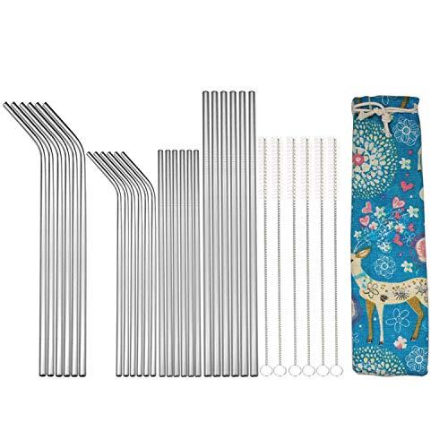 Umi. by Amazon - Set di cannucce riutilizzabili in metallo, 30 pezzi di cannuccia in acciaio inox con 6 spazzole per la pulizia e sacchetto portatile per frullati, frullati, succhi, cocktail e bevande