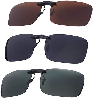 BESPORTBLE 3pcs Clip on Flip up Polarized Lens For Prescription Glasses UV Protection Sunglasses (Gray Film, Dark Green Fi...