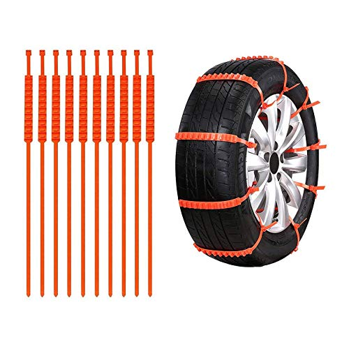 KvSrr Snow Chains for Car Tire Chains Emergency Anti-Skid Mud Universal Plastic Wheel Chain Straps Snowy Rainy 10pcs