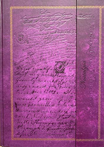 Cuaderno de notas Din A4 en blanco, tapa dura, cierre magnético y relieve con aspecto vintage, color morado