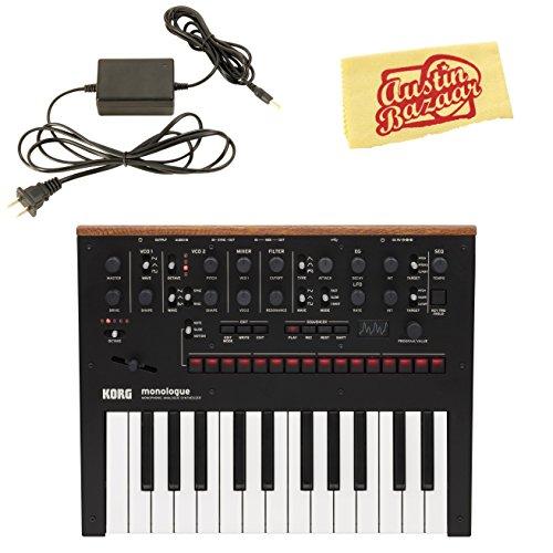 Korg Monologue Monophonic Analog Synthesizer - Black Bundle with Power Supply and Austin Bazaar Polishing Cloth