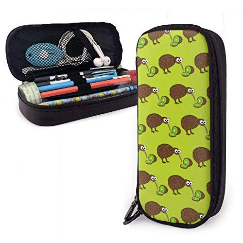 TYHYT astuccio Brown Kiwi Fruits Leather Pencil Case for...