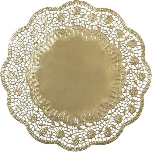 Demmler Tårtdekoration/tårtunderlägg/tårta spetsar – rund – olika storlekar – estetiskt underlag för tårtor och kakor – guld eller silver – 100 stycken – Made in Germany (guld, 17)