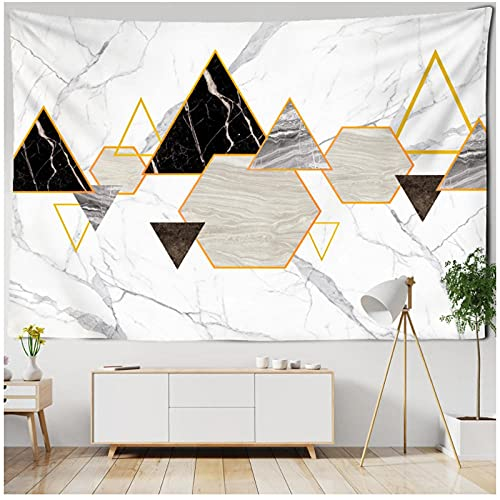 BD-Boombdl Tapiz de montaje en pared 3D imitación azulejo mármol forma geométrica impreso pared Hippie tapiz decorativo bohemio 70.86'x90.55'Inch(180x230 Cm)