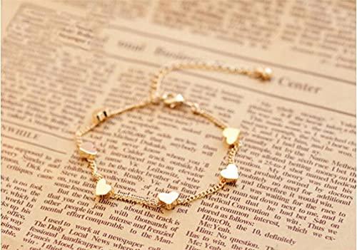 ShZyywrl Pulsera Moda Mujer Pulsera Oro Color Estrella Amor Corazón Encantos Pulseras para Mujer Accesorios Pulseras Joyería Corazón