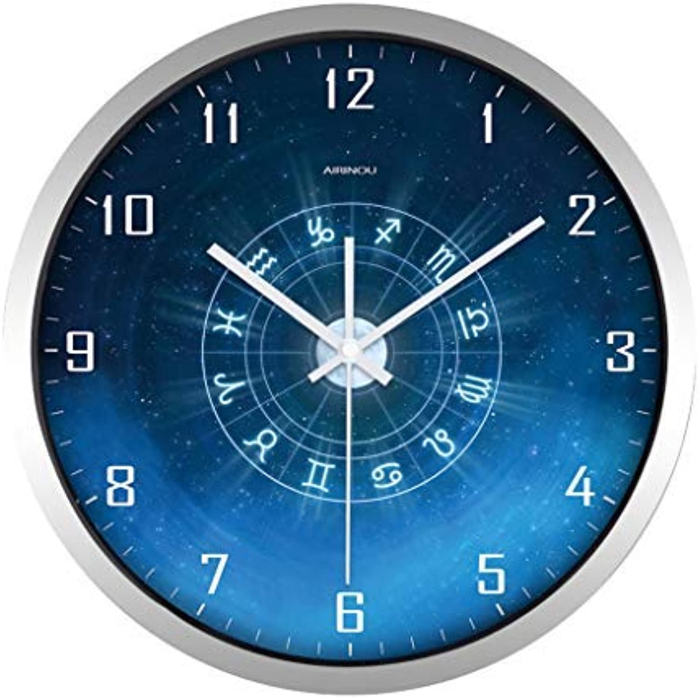la mejor selección de Giow Giow Giow Reloj Barrera de Cuarzo de Parojo Decorativa Grande - Cubierta de Vidrio - Estructura metálica rojoonda de 12 2 14 Pulgadas - Funciona con batería - Cara Azul Precisión de Tiempo Estable (Colo  nuevo sádico