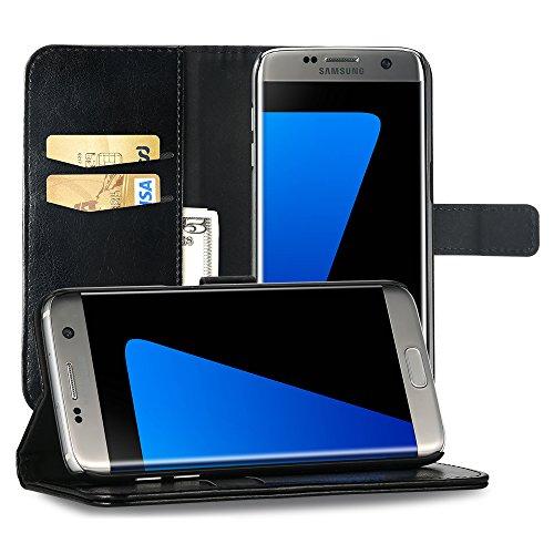 EasyAcc Hülle Case für Samsung Galaxy S7 Edge, Lederhülle PU Leder Flip Tasche Klappbar Schutzhülle Handyhülle mit [Ständer Funktion] Card Holder Cover Kompatibel mit Samsung Galaxy S7 Edge - Schwarz