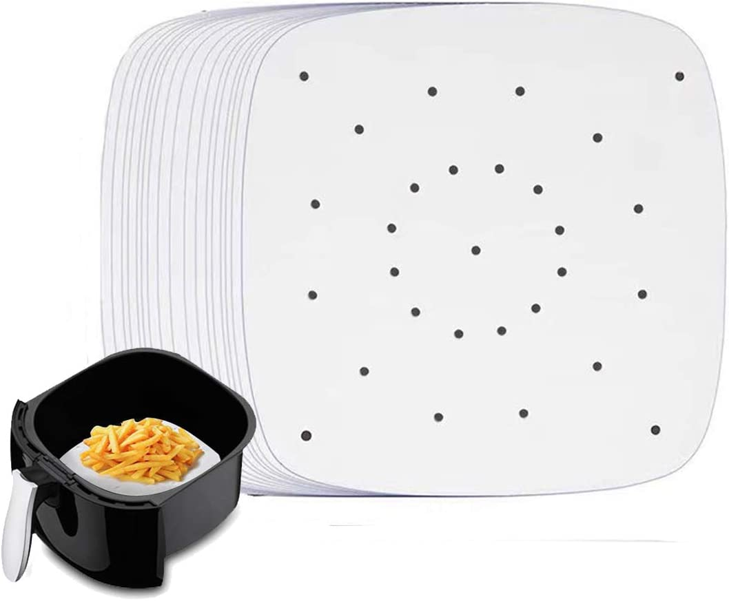 Air Fryer Liners - 7.5 Inches, 200 pcs square Perforated Parchment Paper Liner/Air Fry Parchment Paper /Bamboo Steamer Paper for Air Fryer