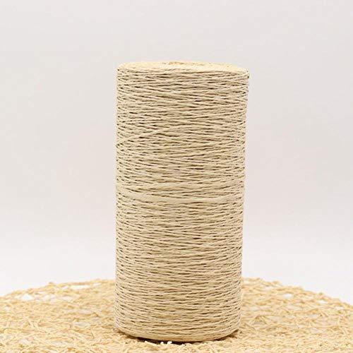 QINQ 500G / Lot Sommer Raffia Stroh Natur Stricken Häkeln Strick Wolle Garn Hüte Taschen Körbe Garn, beige