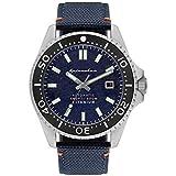 SPINNAKER Men's Tesei 43mm Blue Leather Band Titanium Case Sapphire Crystal Automatic Watch SP-5061-02