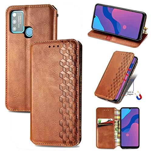 Miagon Samsung Galaxy A21S Mode Hülle,Retro PU Leder Flip Brieftasche Abdeckung Magnetverschluss Folio Ständer Kartensteckplätze Handyhülle,Braun