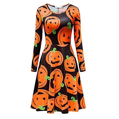 Frauen Swing Kleider Mode Bedruckt Langarm Halloween Bedruckt Casual Kleid für Party, Große Größe Kleider für Damen, 2019 UK Kostüme Halloween, 8-16 Gr. XL, gelb