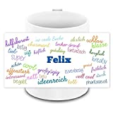Tasse mit Namen Felix und positiven Eigenschaften in