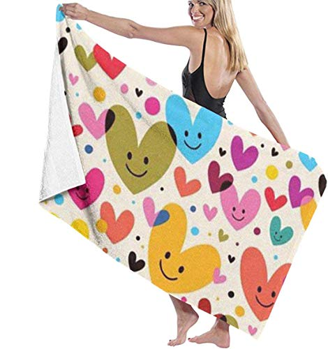 Ewtretr Toalla de Playa Hearts Super Absorbent Bath Towel