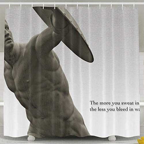 Presock Duschvorhänge, Greek Misc Philosophy Quote Statement Statue Funny Bathroom Curtains 60X72 Inch Eco-Friendly Fabric Bathroom Set with Hooks