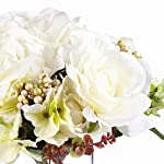 enova home mixed rose and hydrangea silk flower arrangement in clear glass vase with faux water for home wedding centerpiece (cream)