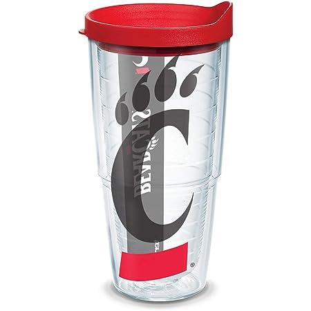 Tervis 1165382 Cincinnati Bearcats Splatter Tumbler with Wrap and Black Lid 24oz Clear