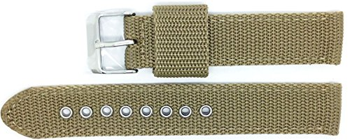 New Condor Extra Long Nylon Canvas Watch Strap Band 20mm Khaki with Free Spring Bars - 112GL_11K_20_W