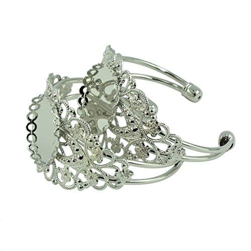 Sharplace 2 Stücke 25mm DIY Armbänder für Cabochon Perle Behalter Armreif Schmuck - Silber