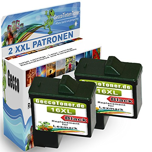 Premium 2x Kompatible Druckerpatronen Als Ersatz für Lexmark 16xl Schwarz Black BK für X1100 X1110 X1130 X1140 X1150 X1155 X1160 X1170 X1180 X1185 X1190 X1195 X1196 X1200 X1250 X1270 X1290 X2225 X2230 X2250 X72 X74 X75 X75 M Z13 Z23 Z23 E Z24 Z25 Z25 L Z33 Z34 Z35 Z503 Z510 Z511 Z512 Z514 Z515 Z516 Z517 Z52O Z601 Z602 Z603 Z605 Z611 Z612 Z614 Z615 Z617 Z640 Z645 Z717 Z817 Z819 2x16lex