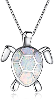 Hermosa Sea Turtle Necklace for Women Animal Charms Pendant Necklace Australian Opal Jewelry for Mom Gifts
