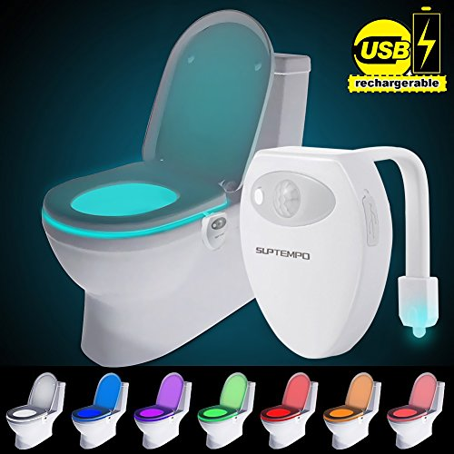 USB Recargable WC Luz De Noche - 8 Color Sensor de Movimiento luz LED Automática Inodoro luz para Baño, Hotel, Cafe Bar, Facil De Usar 100% Impermeable (Recargable WC)