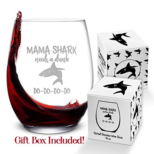 Baby Mama Shark Etched Wine Glass
