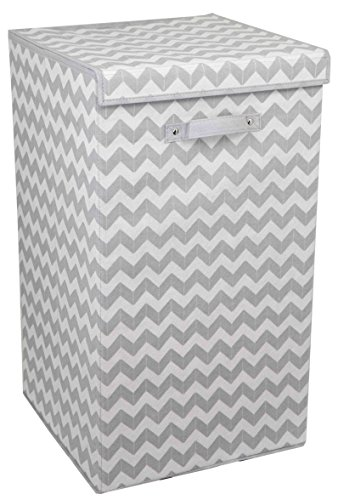 Home Basics Chevron Laundry Hamper with Handle, Grey