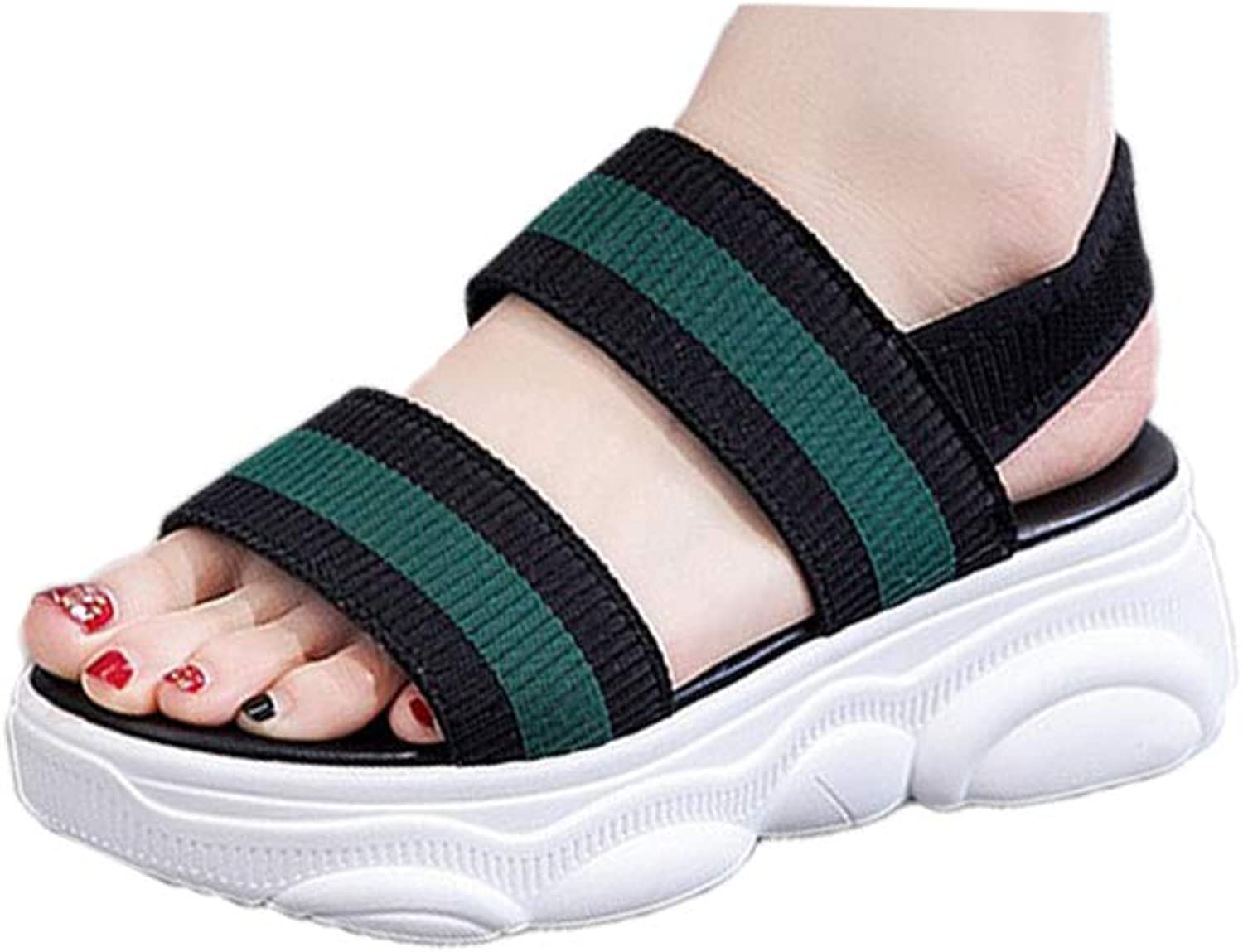 DBQWTY Summer Flat-Soled Ladies Comfortable Walking Classic Cloth-Faced Sandals with Slope-Heeled Sandals